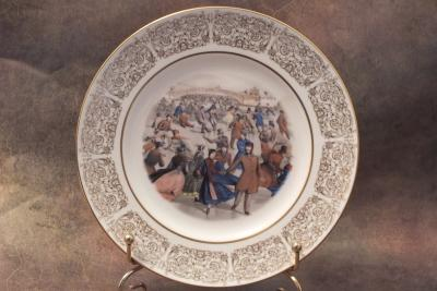 Тарелка фарфоровая новогодняя рождественская Центральный парк. Зима