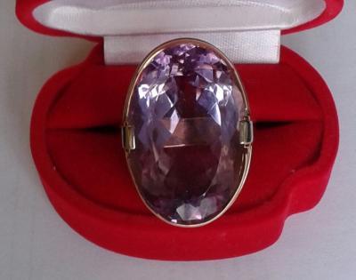 Золотое кольцо с аметистом 55 ct