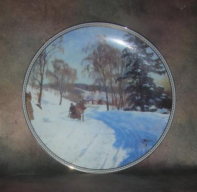 Тарелка фарфоровая новогодняя рождественская Скандинавская зима