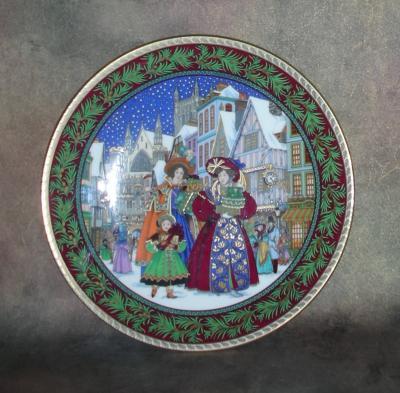Тарелка фарфоровая новогодняя рождественская Канун Рождества