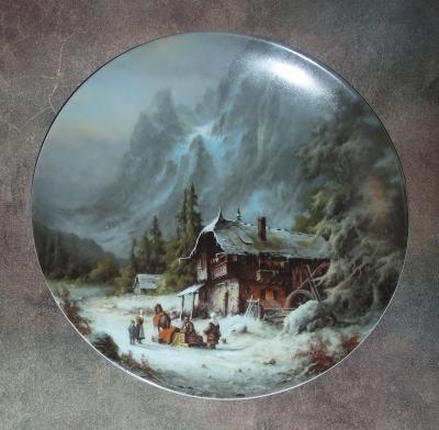 Тарелка фарфоровая новогодняя рождественская Рождественские товары
