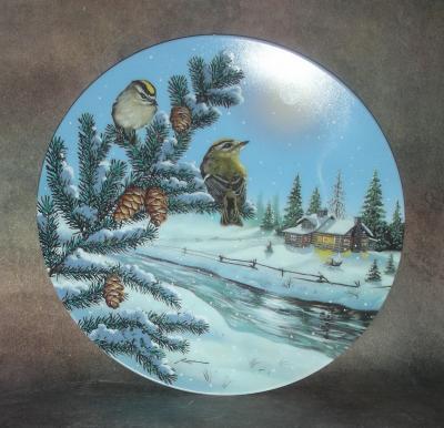 Тарелка фарфоровая новогодняя рождественская Зимние отражения