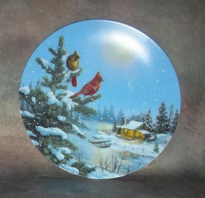 Тарелка фарфоровая новогодняя рождественская При лунном свете