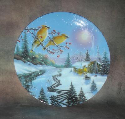 Тарелка фарфоровая новогодняя рождественская Зимняя гавань