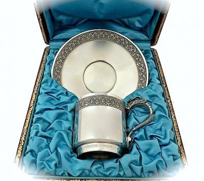 Кофейная пара из серебра в футляре
