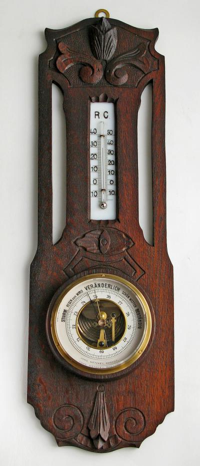 Резной немецкий барометр Анероид с термометром