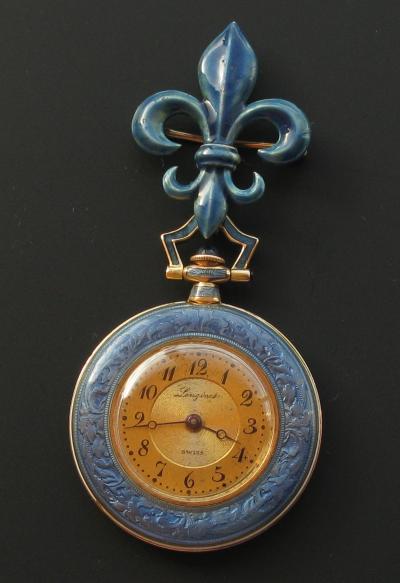 Золотые карманные часы LONGINES с геральдической лилией