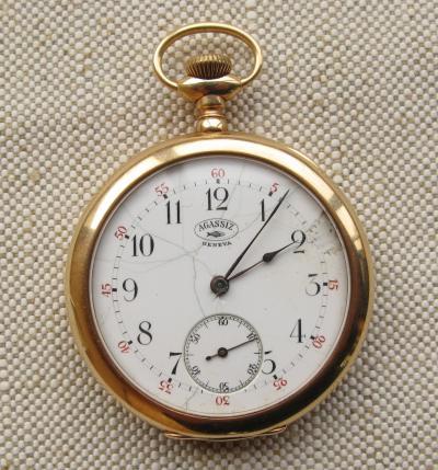 Золотые карманные часы AGASSIZ