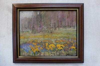 Пейзаж Калужницы цветут
