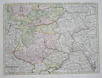 Редкая цветная карта Московии, 1740
