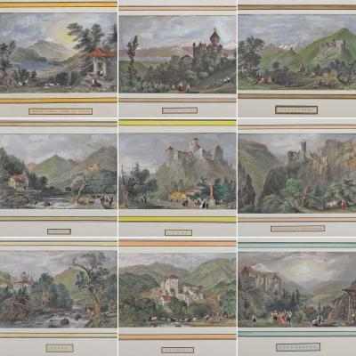 Гравюры со швейцарскими ландшафтами (13 шт)
