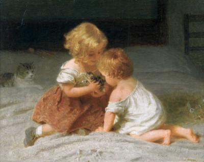 Английская картина с детьми и котятами