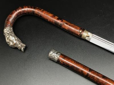 Трость Японская со скрытым клинком, украшенная охотничьим сюжетом - головой кабана и листьями дуба.