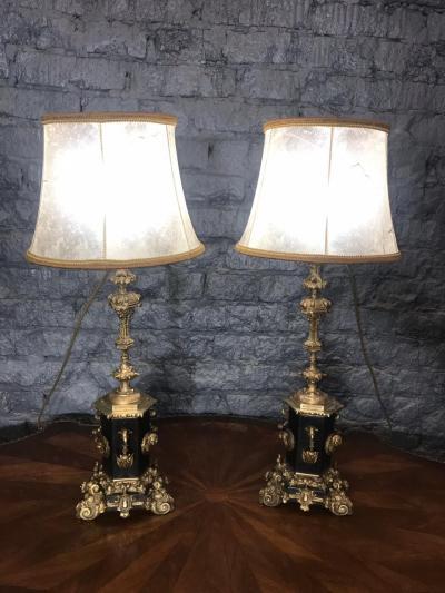 Парные бронзовые лампы XIX века