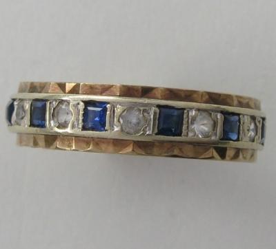Английское кольцо с сапфирами и фианитами