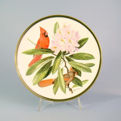 Декоративная тарелка птица-кардинал