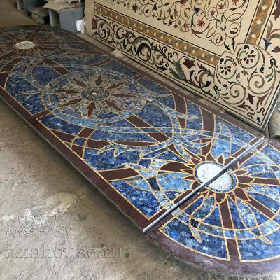 Мраморная столешница Лагуна Флорентийская мозаика