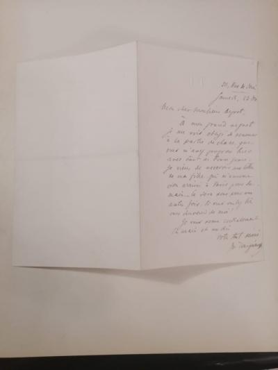 Рукописное письмо французскому писателю Луи Депре от Ивана Тургенева