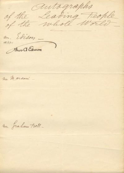 Автограф Томаса Эдисона