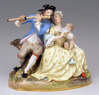 Музыкальная пара с ребенком, 1860 год