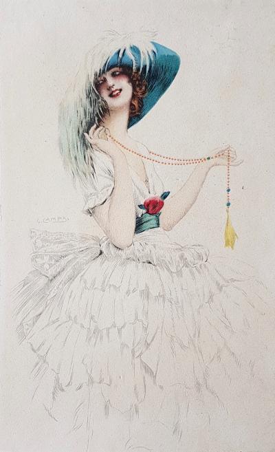 Литография Красавица в шляпе со страусовым пером