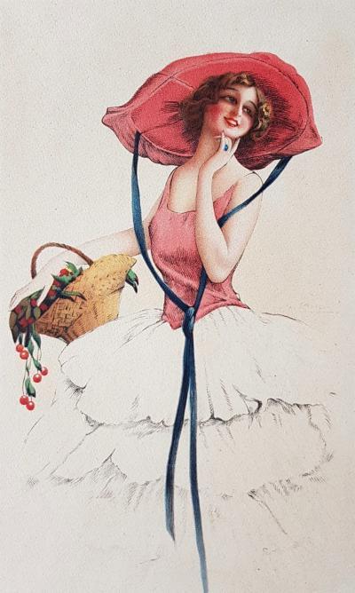 Литография Красавица в летней шляпе