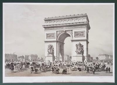 Литография Париж. Триумфальная арка на площади Звезды