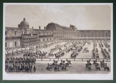 Литография Париж. Большая Карусель при Людовике XIV