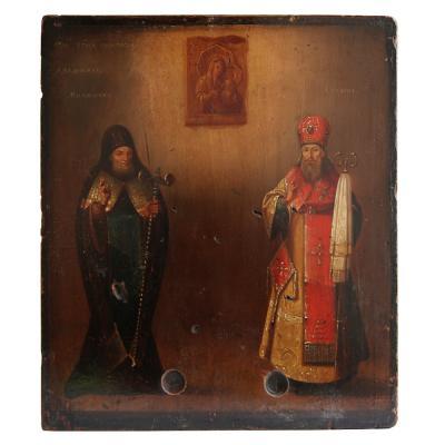 Икона с мощевиками святых чудотворцев Митрофана Воронежского и Тихона Задонского
