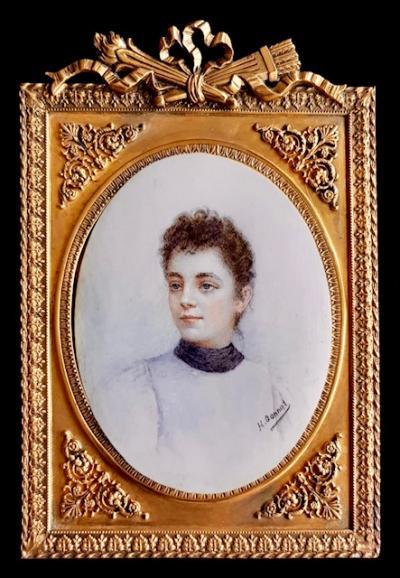 Миниатюра в бронзовой рамке Портрет молодой дамы