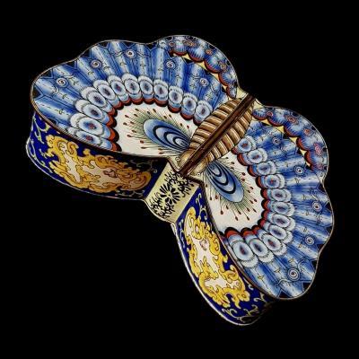 Китайская шкатулка в технике расписной эмали Бабочка