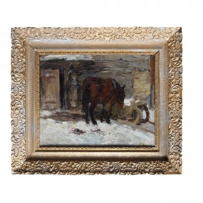 Борис Угаров Лошадь у дома зимой