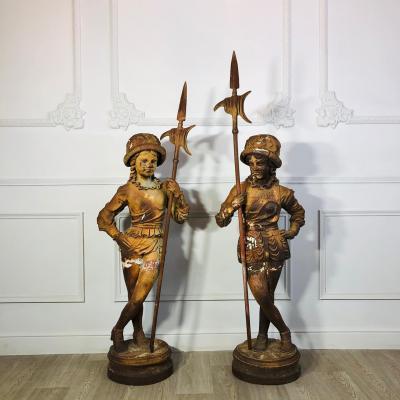 Парные скульптуры девочек-пажей конца XIX века, Франция