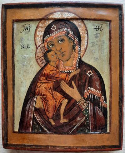 Икона Пресвятая Богородица Феодоровская двойной ковчег XVII век