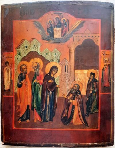 Икона Явление Пресвятой Богородицы Сергию Радонежскому XIX век