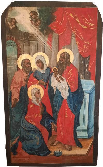 Икона Храмовая Сретение Господне XVIII век