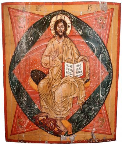Храмовая центральная икона иконостаса Спас в Силах XVIII век