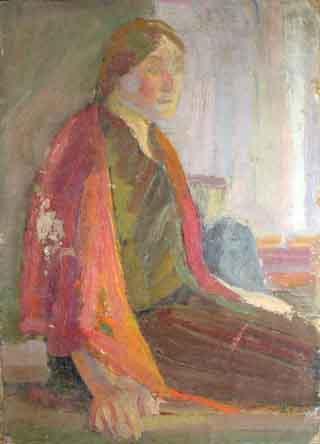 Портрет женщины в красной шали.